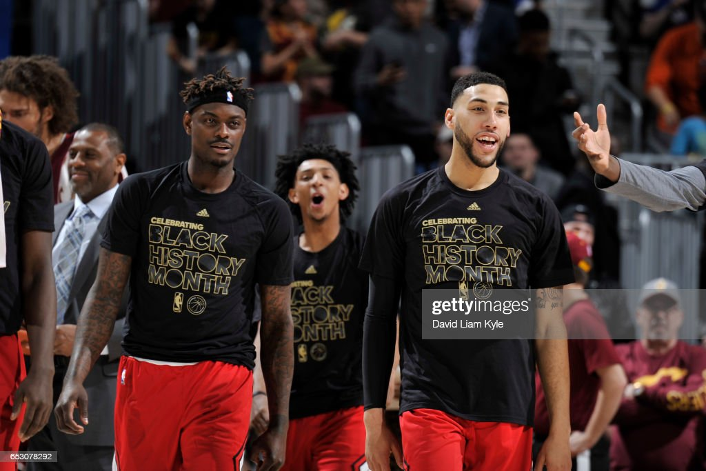 The Chicago Bulls celebrate during the game against the Cleveland Cavaliers on February 25, 2017 at Quicken Loans Arena in Cleveland, Ohio.