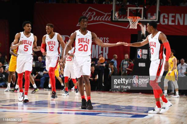 The Chicago Bulls celebrate during the game against the Los Angeles Lakers during Day 1 of the 2019 Las Vegas Summer League on July 5 2019 at the...
