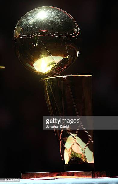 The Chicago Bulls Championship trophy is on display during a 20th anniversary recognition ceremony of the 1st NBA Championship in 1991 during...