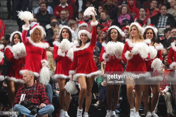 The Chicago Bulls dance team cheers on their team in the game against the Houston Rockets during a Christmas Day game on December 25 2012 at the...