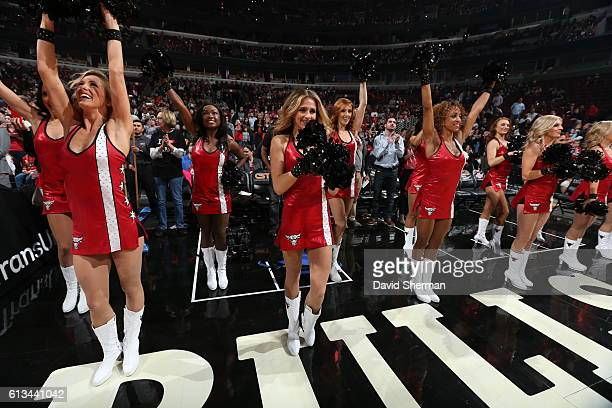The Chicago Bulls dance team is seen before the game against the Indiana Pacers on October 8 2016 at the United Center in Chicago Illinois NOTE TO...
