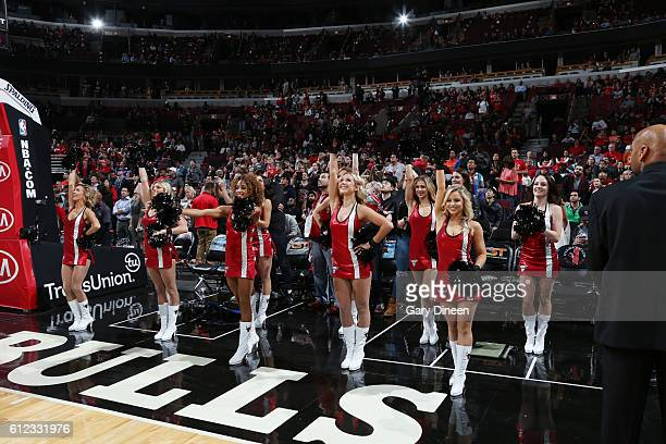 The Chicago Bulls dance team performs before the game against the Milwaukee Bucks during a preseason game on October 3 2016 at United Center in...