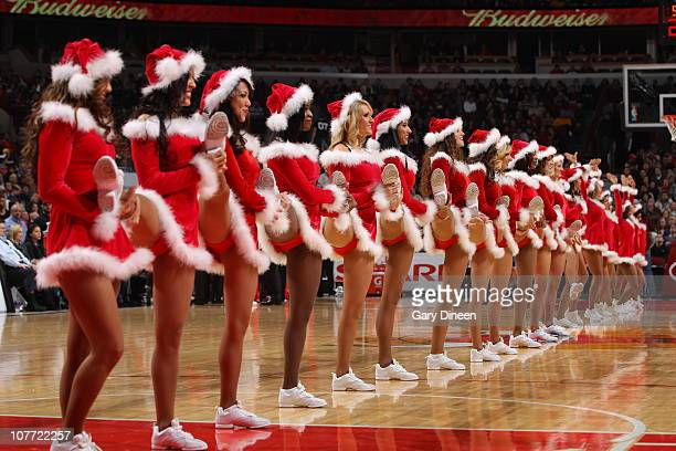 The Chicago Bulls dance team performs during a timeout in a game against the Philadelphia 76ers on December 21 2010 at the United Center in Chicago...