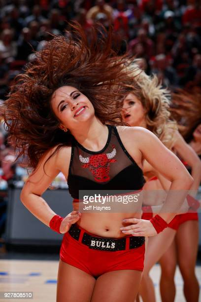 The Chicago Bulls dance team performs during the game against the Los Angeles Lakers on January 26 2018 at the United Center in Chicago Illinois NOTE...
