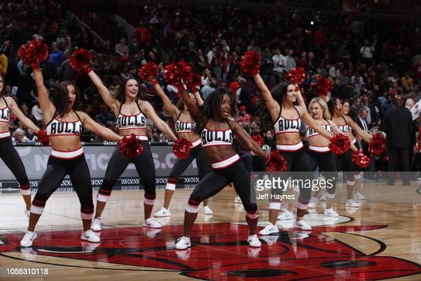 The Chicago Bulls dance team performs during the game against the Golden State Warriors on October 29 2018 at United Center in Chicago Illinois NOTE...