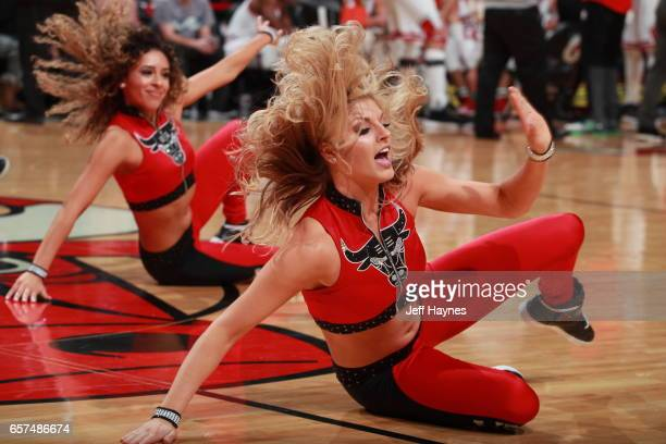 The Chicago Bulls dance team performs during the game against the Philadelphia 76ers during the game on March 24 2017 at the United Center in Chicago...