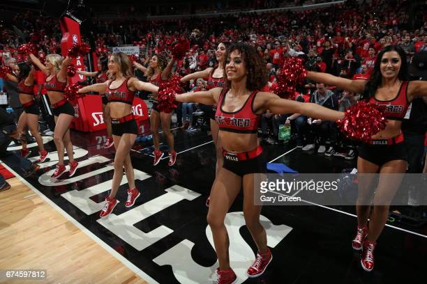 The Chicago Bulls dance team performs during the game against the Boston Celtics in Game Six of the Eastern Conference Quartefinals of the 2017 NBA...