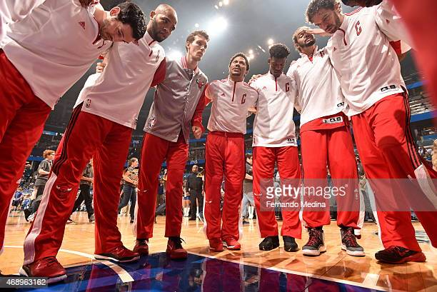 The Chicago Bulls huddle before a game against the Orlando Magic on April 8 2015 at Amway Center in Orlando Florida NOTE TO USER User expressly...