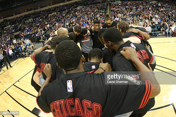 The Chicago Bulls huddle before facing off against the Minnesota Timberwolves as part of NBA Canada Series 2015 on October 10 2015 at the MTS Centre...