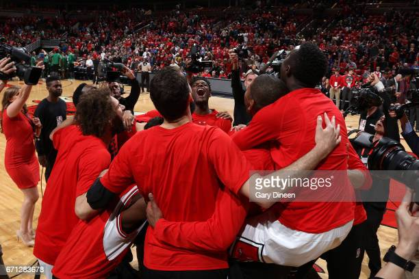 The Chicago Bulls huddle before the game against the Boston Celtics during Game Three of the Eastern Conference Quarterfinals of the 2017 NBA...