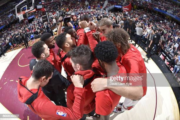 The Chicago Bulls huddle before the game against the Cleveland Cavaliers on October 24 2017 at Quicken Loans Arena in Cleveland Ohio NOTE TO USER...