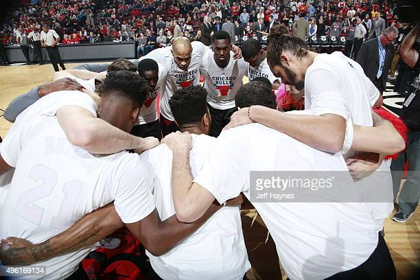 The Chicago Bulls huddle before the game against the Minnesota Timberwolves on November 7 2015 at the United Center in Chicago Illinois NOTE TO USER...