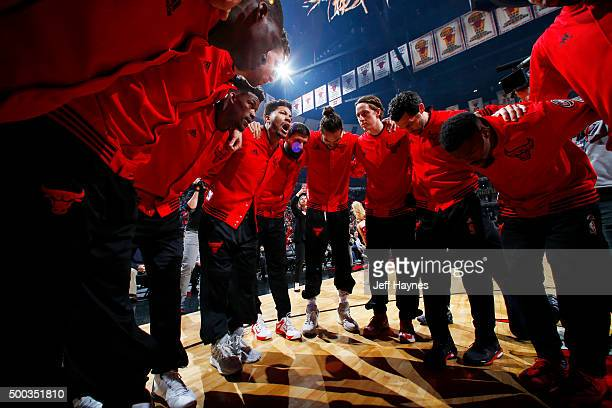 The Chicago Bulls huddle before the game against the Phoenix Suns on December 7 2015 at United Center in Chicago Illinois NOTE TO USER User expressly...