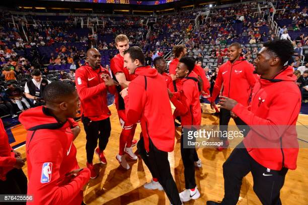 The Chicago Bulls huddle before the game against the Phoenix Suns on November 19 2017 at Talking Stick Resort Arena in Phoenix Arizona NOTE TO USER...