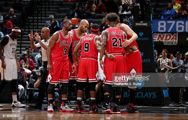 The Chicago Bulls huddle during the game against the Brooklyn Nets on October 31 2016 at Barclays Center in Brooklyn New York NOTE TO USER User...