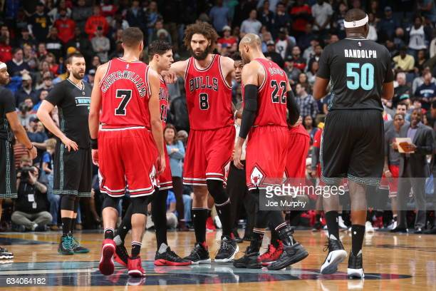 The Chicago Bulls huddle during the game against the Memphis Grizzlies on January 15 2017 at FedExForum in Memphis Tennessee NOTE TO USER User...
