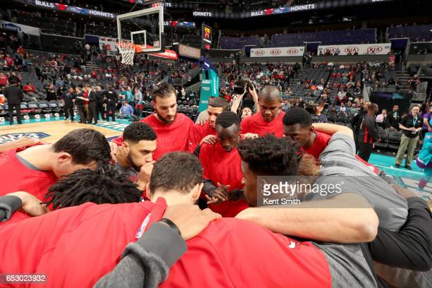 The Chicago Bulls huddle up before the game against the Charlotte Hornets on March 13 2017 at Spectrum Center in Charlotte North Carolina NOTE TO...