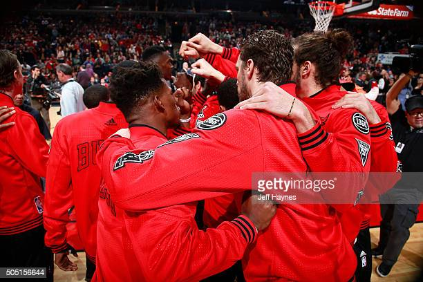 The Chicago Bulls huddle up before the game against the Dallas Mavericks on January 15 2016 at the United Center in Chicago Illinois NOTE TO USER...