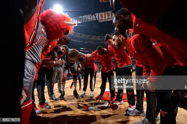 The Chicago Bulls huddle up before the game against the Detroit Pistons on December 19 2016 at the United Center in Chicago Illinois NOTE TO USER...