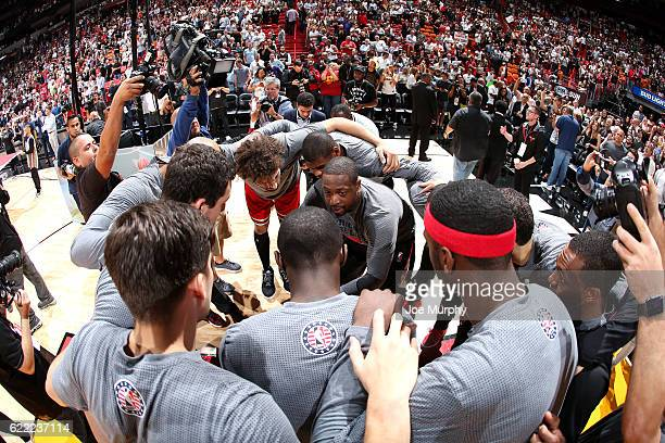 The Chicago Bulls huddle up before the game against the Miami Heat on November 10 2016 at AmericanAirlines Arena in Miami Florida NOTE TO USER User...