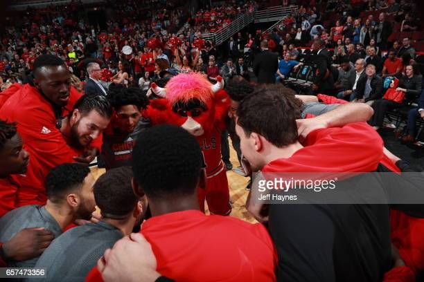 The Chicago Bulls huddle up before the game against the Philadelphia 76ers during the game on March 24 2017 at the United Center in Chicago Illinois...