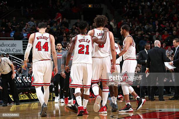 The Chicago Bulls huddle up during the game against the Indiana Pacers on December 26 2016 at the United Center in Chicago Illinois NOTE TO USER User...