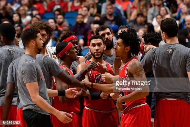 The Chicago Bulls huddle up during the game against the Orlando Magic on March 8 2017 at Amway Center in Orlando Florida NOTE TO USER User expressly...