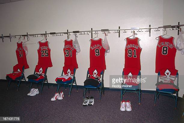 The Chicago Bulls jerseys hang in the lockerroom against the Sacramento Kings on February 1 1996 at Arco Arena in Sacramento California NOTE TO USER...
