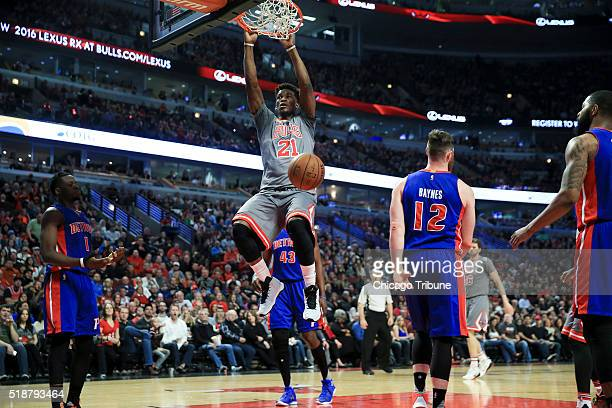 The Chicago Bulls' Jimmy Butler dunks during the first half against the Detroit Pistons at the United Center in Chicago on Saturday April 2 2016