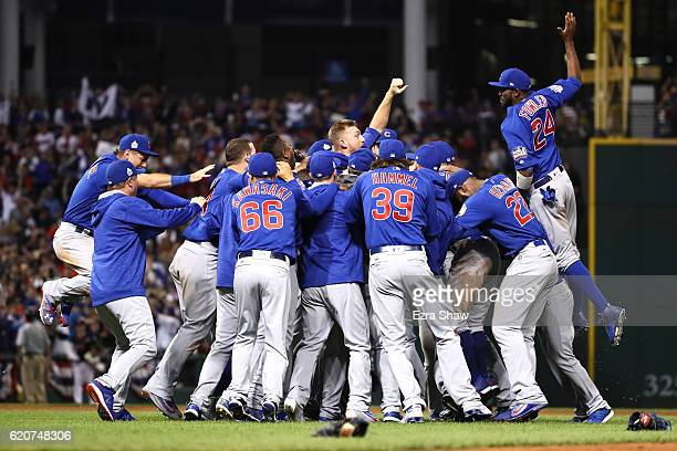 The Chicago Cubs celebrate after defeating the Cleveland Indians 87 in Game Seven of the 2016 World Series at Progressive Field on November 2 2016 in...