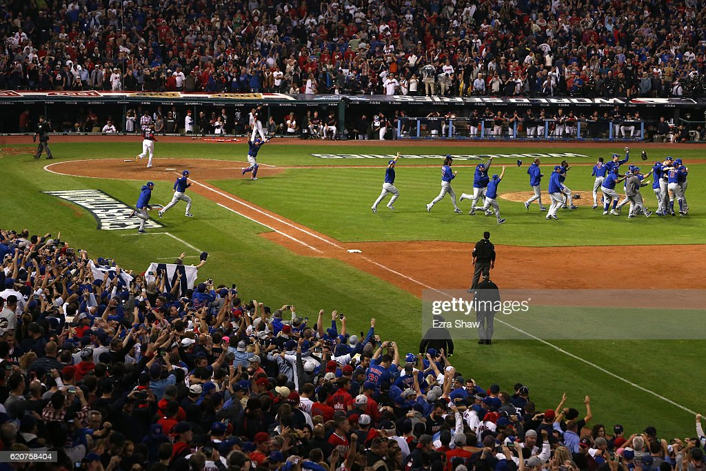 The Chicago Cubs celebrate after defeating the Cleveland Indians 8-7 in Game Seven of the 2016 World Series at Progressive Field on November 2, 2016 in Cleveland, Ohio. The Cubs win their first World Series in 108 years.