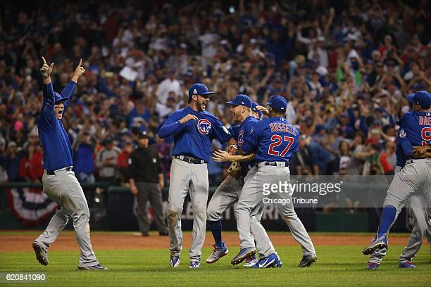 The Chicago Cubs celebrate after defeating the Cleveland Indians Nov 3 2016 in Game 7 to win the World Series at Progressive Field in Cleveland Ohio