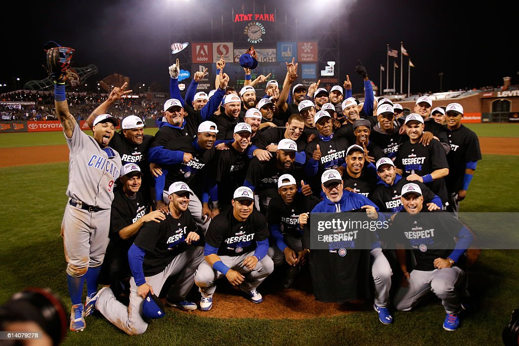 The Chicago Cubs celebrate after defeating the San Francisco Giants 6-5 in Game Four of their National League Division Series to advance to the National League Championship Series at AT&T Park on October 11, 2016 in San Francisco, California.