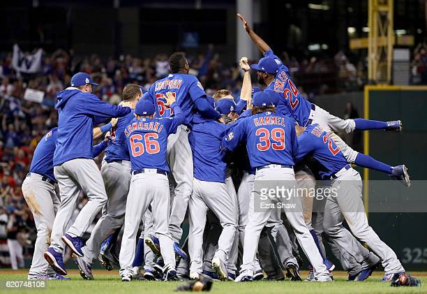 The Chicago Cubs celebrate after winning 87 against the Cleveland Indians in Game Seven of the 2016 World Series at Progressive Field on November 2...