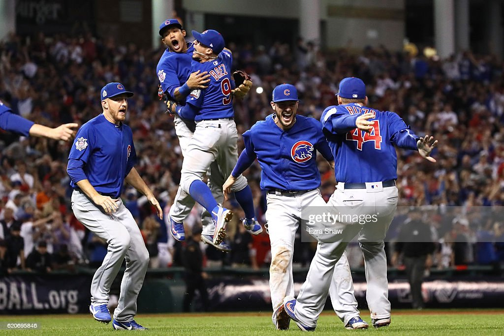 The Chicago Cubs celebrate after winning 8-7 in Game Seven of the 2016 World Series at Progressive Field on November 2, 2016 in Cleveland, Ohio.