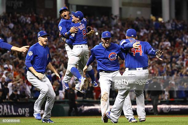 The Chicago Cubs celebrate after winning 87 in Game Seven of the 2016 World Series at Progressive Field on November 2 2016 in Cleveland Ohio