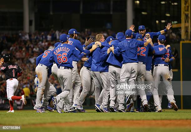 The Chicago Cubs celebrate after winning Game 7 of the 2016 World Series against the Cleveland Indians at Progressive Field on Wednesday November 2...