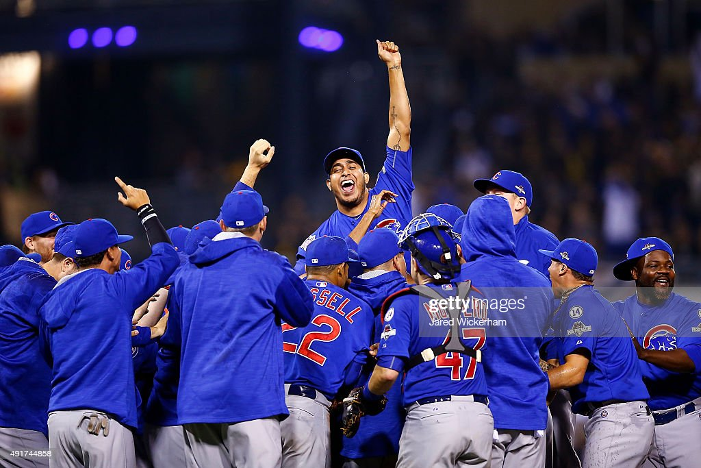 The Chicago Cubs celebrate defeating the Pittsburgh Pirates to win the National League Wild Card game at PNC Park on October 7, 2015 in Pittsburgh, Pennsylvania. The Chicago Cubs defeated the Pittsburgh Pirates with a score of 4 to 0.