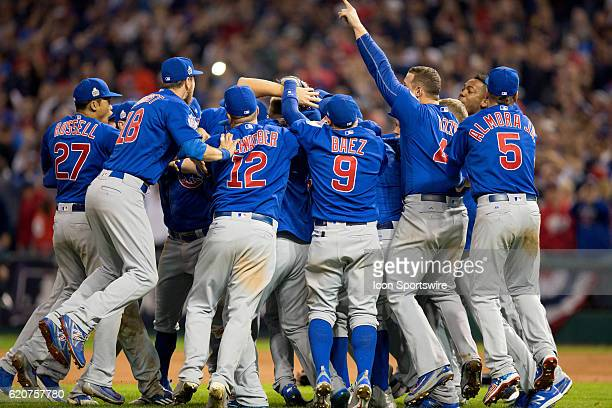 The Chicago Cubs celebrate following 2016 World Series Game 7 between the Chicago Cubs and Cleveland Indians on November 02 at Progressive Field in...