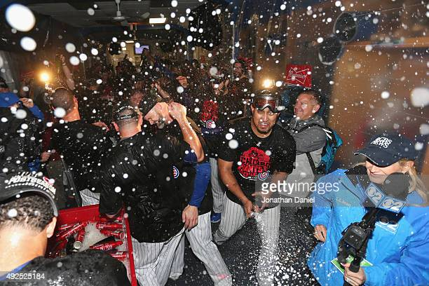 The Chicago Cubs celebrate in the clubhouse after defeating the St Louis Cardinals in game four of the National League Division Series to win the...