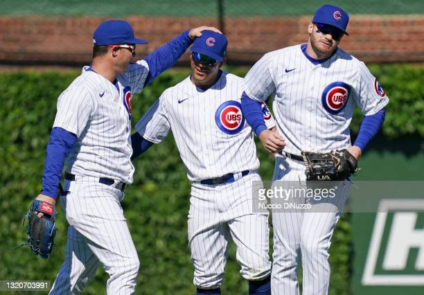 The Chicago Cubs celebrate their team's win over the Cincinnati Reds at Wrigley Field on May 29, 2021 in Chicago, Illinois. The Cubs defeated the...