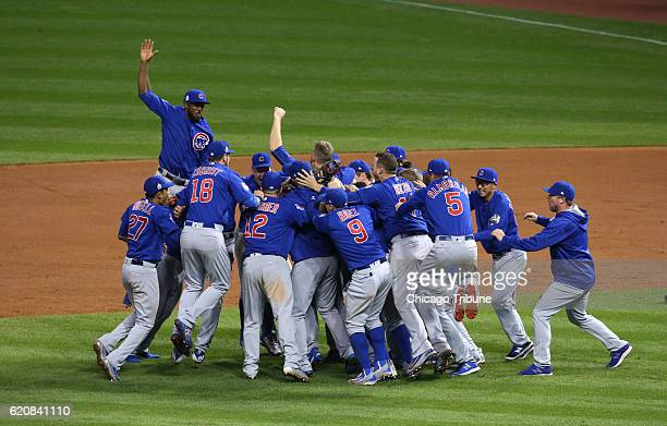 The Chicago Cubs celebrate winning the World Series at the end of Game 7 of the World Series between the Chicago Cubs and Cleveland Indians Thursday...