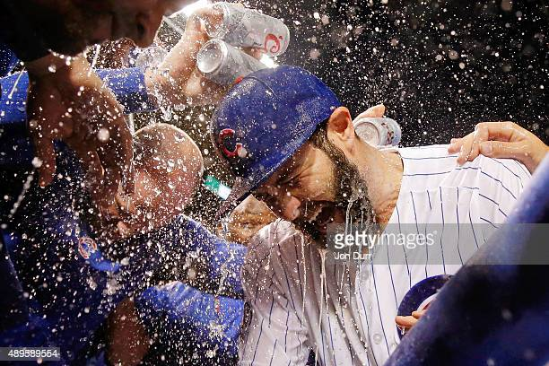 The Chicago Cubs celebrate with Jake Arrieta on his 20th win of the season against the Milwaukee Brewers at Wrigley Field on September 22 2015 in...