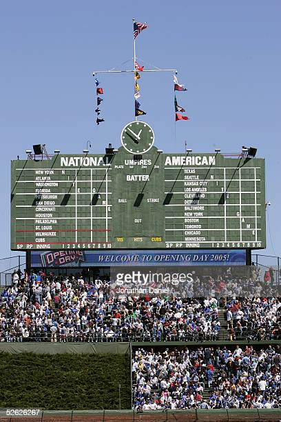 The Chicago Cubs scoreboard is seen during the game with the Milwaukee Brewers on April 8 2005 at Wrigley Field in Chicago Illinois The Brewers...