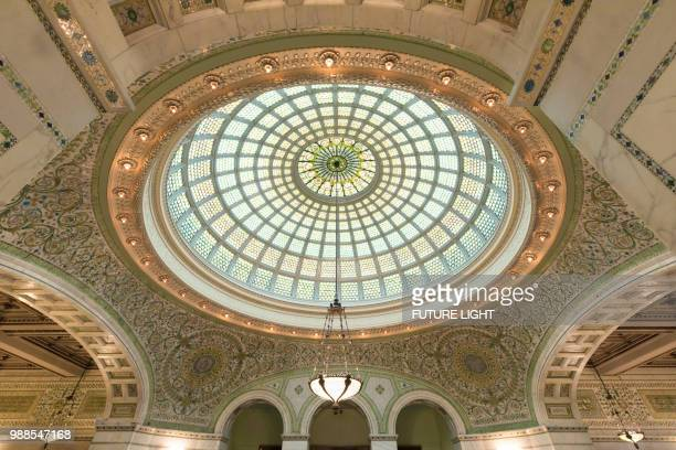 the chicago cultural center, preston bradley hall, the loop, chicago, illinois, usa, north america - cook county illinois stock photos and pictures