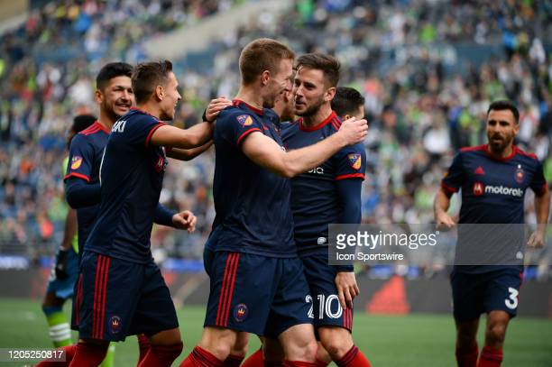 The Chicago Fire celebrate a Robert Beric first half goal during a MLS match between the Chicago Fire and the Seattle Sounders at Century Link Field...