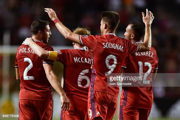 The Chicago Fire celebrate after the own goal scored by DC United's Ian Harkes during the match between Dagainst the Chicago Fire United and the...