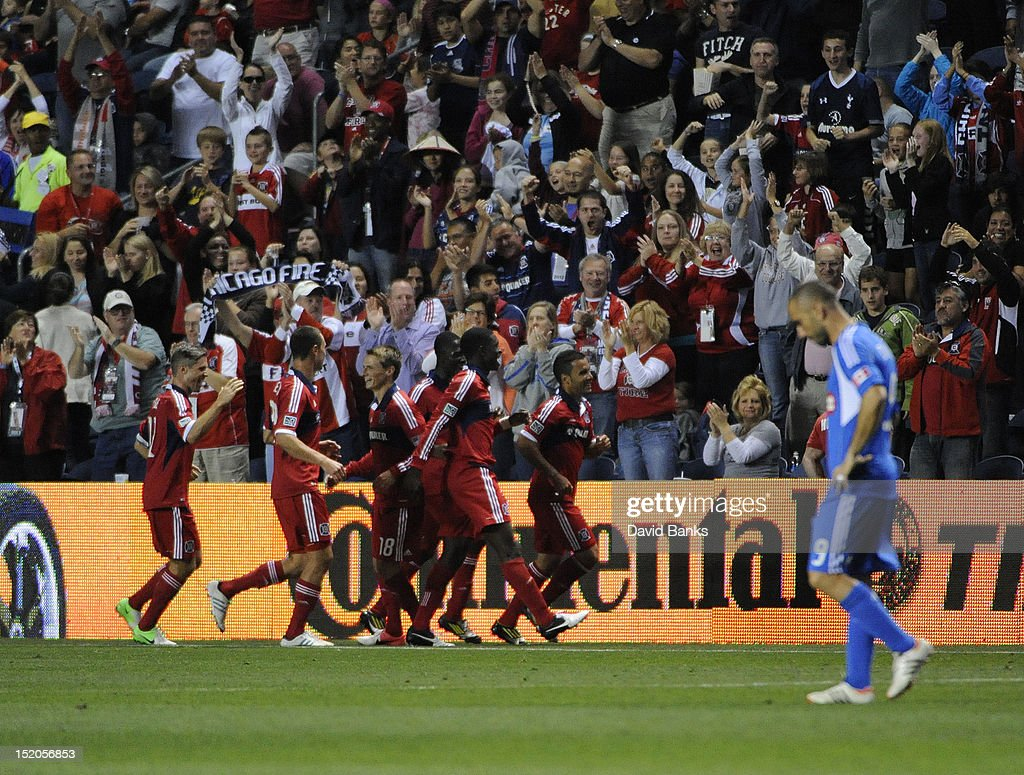 The Chicago Fire celebrate their second goal against the Montreal Impact in an MLS match on September 15, 2012 at Toyota Park in Bridgeview, Illinois. The Chicago Fire defeated the Montreal Impact 3-1.