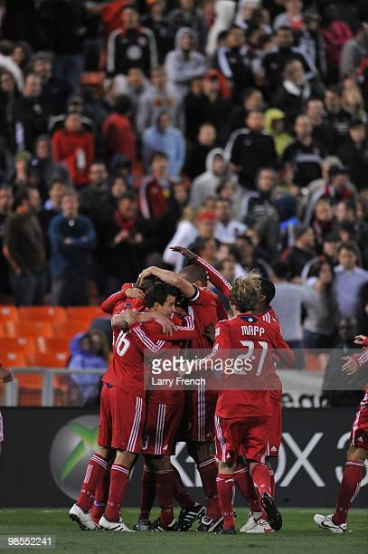 The Chicago Fire celebrate their second goal of the game against DC United at RFK Stadium on April 17 2010 in Washington DC The Fire defeated the...