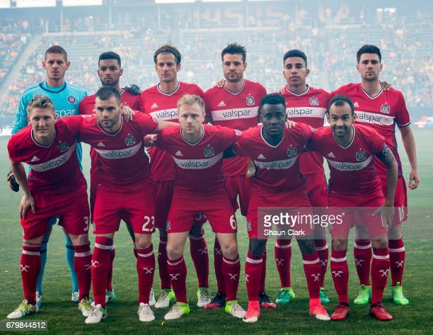 The Chicago Fire prior to the Los Angeles Galaxy's MLS match against Chicago Fire at the StubHub Center on May 6 2017 in Carson California The match...